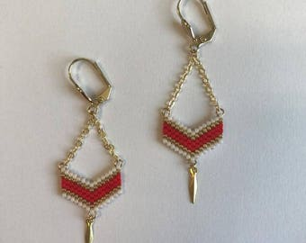 ∎ VICTORY ∎ chevron - red earrings