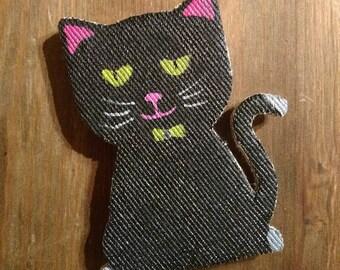 Black Cat Magnet, Cat lover magnet, Refrigerator magnet, Halloween magnet, Halloween decoration, cat magnet,