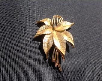 Vintage signed Trifari brooch, leaves, costume jewellery