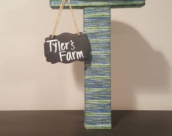 16in Self Standing Wrapped Farm Themed Letter T