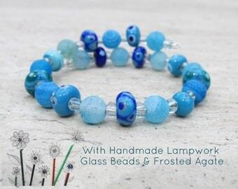 Beaded Glass Bracelet, Home made Lampwork Glass Beads, Blue Agate Frosted Gemstone, Beach Nautical Jewellery, Adjustable Surf Wrist Wrap