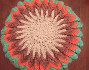 crochet round pillow 1960s
