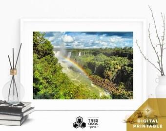 South America Photography:  Quote, Digital Print, Colorful Photo, Waterfall,  Printable Wall Art, Iguazu, Wall Decor, Rainbow,