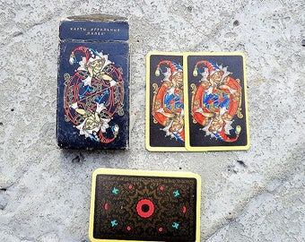 Palekh art-painted vintage soviet playing cards 56 pcs // Black russian poker Playing card 54 pcs deck USSR 1992 made