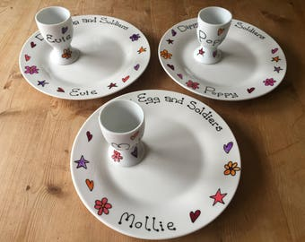 Personalised hand painted dippy egg and soldiers plate and egg cup
