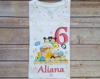 Tsum Tsum Birthday white short sleeve shirt