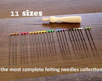 11 sizes New Doll maker's Felting Needles Set ( 28 pcs) with Wooden Handle