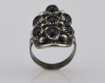 Sterling Silver Vintage Onyx Ring Size 7.5(01438)