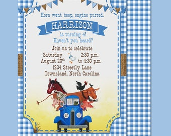 Little Blue Truck Birthday Party Invitation