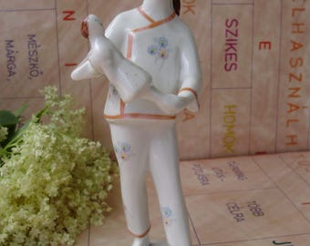 Vintage Hungarian Hollohaza porcelain  figurine,little girl with doll,stamped,handpainted