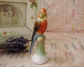 Vintage HUNGARIAN porcelain bird  figurine,parrot,handpainted