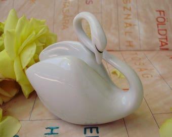 Vintage Hungarian Hollohaza art deco style porcelain bird figurine,swan, handpainted