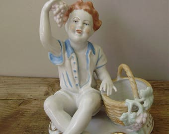 Vintage   porcelain child figurine,boy with grape ,handpainted,фарфоровая статуэтка