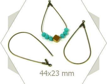 12 bases créoles gouttes bronze AB33 boucles d'oreilles