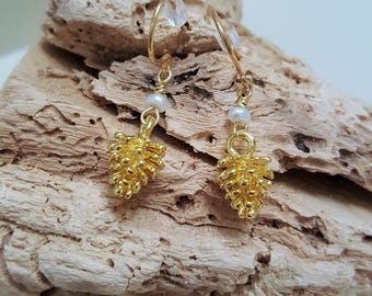 Gold Plated Pine Cone and Pearl Earrings