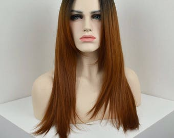 Copper/Mahogany Ombre synthetic wig with a dark root shadow/smudge - heat resistant fiber