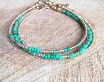 Emerald and Gold Bracelet Stacks