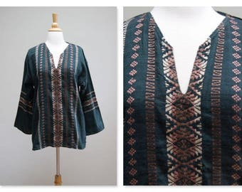 Vintage Mexican Tunic ⎮ 1970s Woven Boho Top ⎮ Vintage Spanish Embroidered Shirt