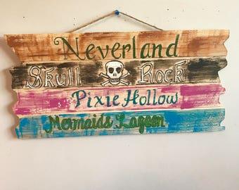"""Peter Pan Neverland Wooden Sign 18.9"""" x 9.6"""" x 0.3"""""""