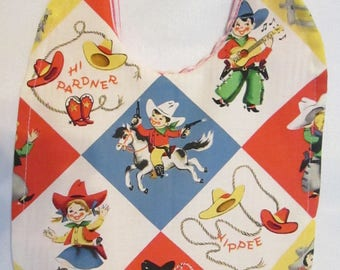 Retro Children Cowboy Themed Reversible Baby Bib Yippee! Hi Pardner!