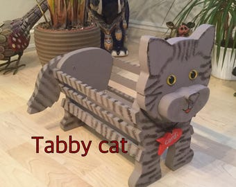 TABBY CAT,wooden garden ornament,planter,decoration,birthday gift,mother's day gift,
