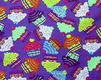 Fabric coupon purple cupcake cotton