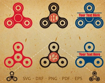 Fidget Spinner SVG, Fidget Spinner Monogram SVG with Circle Font, Spinner Clipart Silhouette Cricut Cut Files (svg, dxf, eps, png, pdf)
