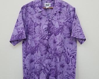 Men's Hawaiian Shirt. Floral Print Hawaiian Shirt. 100 Cotton. Size XL. Purple. Aloha Shirt. Made in Hawaii