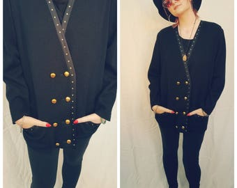 80s Designer Black Cardigan Sweater Jacket Double breasted Gold Buttons studs Long sleeves.  Size Medium.