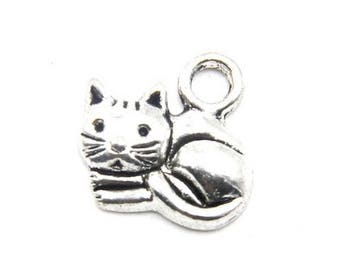 5 pendants charms charm cat 15 x 13 mm nickel free