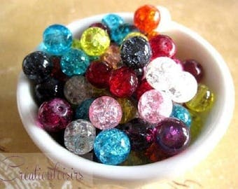 cracked glass multicolored 8 mm 30 beads