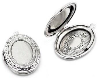 Oval Locket pendants 1 door Photo silver color