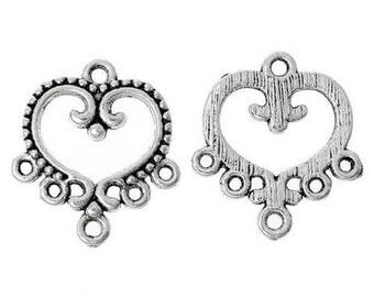 6 connectors jewelry 6 hole silver heart