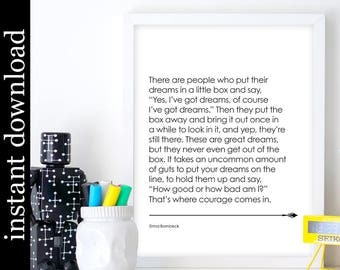 Erma Bombeck Quote, printable wall art, motivational gift, dreams quote, courage quote, quote print, digital download, office art, dorm art