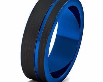 tungsten ring blue wedding band ring tungsten carbide 8mm brushed tungsten ring male female wedding band