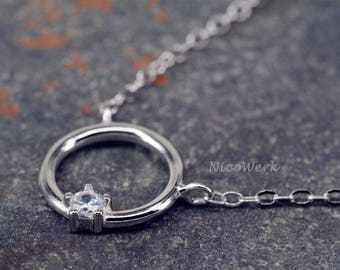 Silver necklace with pendant circle necklace ladies 925 Silver Chain jewelry SKE195