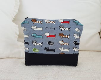 Veriety Cats pouch- Gray, travel pouch, makeup bag, makeup pouch, cosmetic pouch, cat pouch,animal pattern pouch