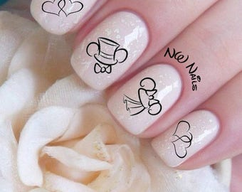 Mickey and Minnie Mouse Wedding Hats and Hearts Nail Decals