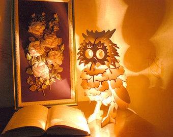 3d Wooden Owl Lamp Desktop Lamp Bedroom Lamp Owl Lamp Table Lamp Plywood Lamp  Owl Nightligh