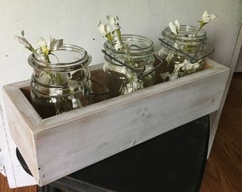 Wooden Planter Box, Farmhouse Decor, Fixer Upper Decor, Rustic Centerpiece Box