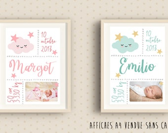 Poster of birth personalised frame for child's room