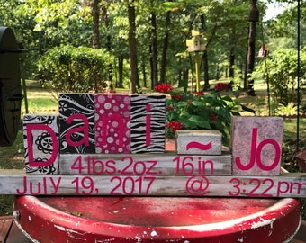 Baby announcement blocks