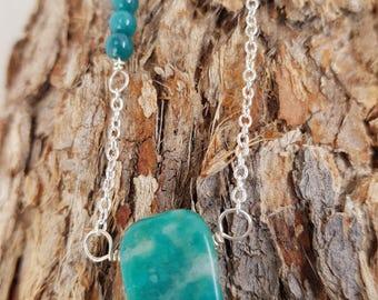 Amazonite necklace; Blue topaz necklace; Topaz necklace; Wirework necklace; Wire wrap necklace; Silver necklace; Gemstone necklace