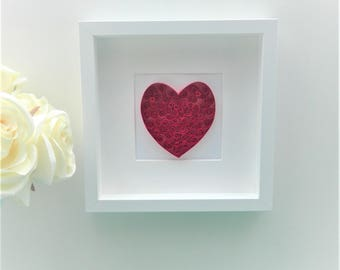 Framed Art/ Quilled Paper Heart