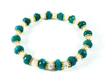Blue Jade Blues~ Handmade Stretch Bracelet~ Genuine Faceted Jade & Swarovski Crystal Rondelles~ Adjustable~ Gift for Him or Her