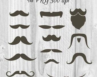 14 Moustaches Clipart Father's Day Clipart Digital Moustaches Elements Male graphics Boy's clipart Barber shop clipart Men's face clipart
