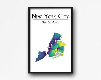 New York City - The Big Apple Poster Map Art Wall Decor