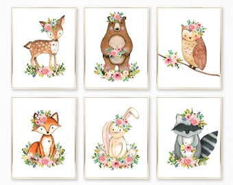 Woodland Nursery Art. Woodland Nursery. Woodland Nursery Decor. Woodland Nursery Prints. Watercolor Woodland Animals Prints. Woodland Floral