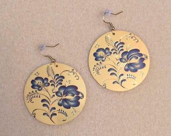 Blue Filigree Dangle Earrings; Drop Earrings, Filigree Earrings, Blue and Gold Colored Dangle Earrings, Statement Earrings