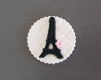 6 x Eiffel Tower cupcake toppers, Parisian, parisian cake decorations, Fondant Eiffel towers, parisian party
